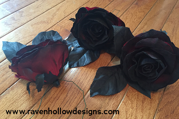 Wired roses for Halloween wreath