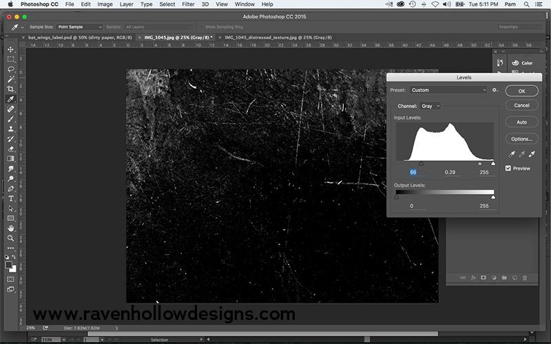 darkening photo with levels
