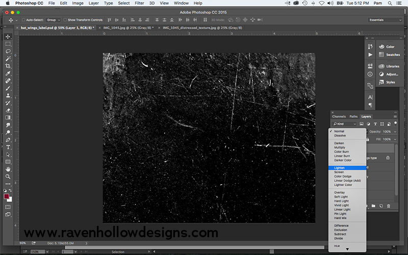 lighten layer of textured photo