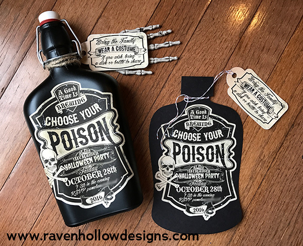 Left: 2016 Halloween Invitation bottle. Right: Paper invitation.