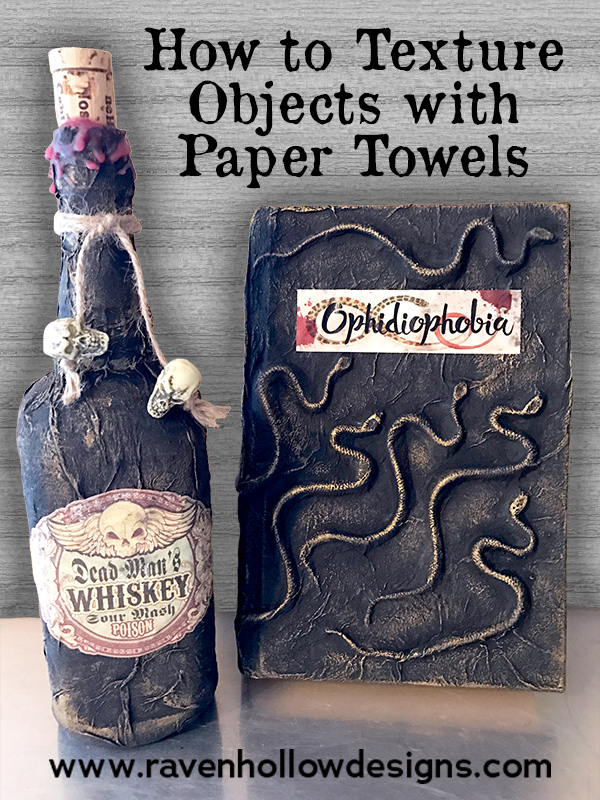 Creepy Halloween Books - Adding Texture with Paper Towels