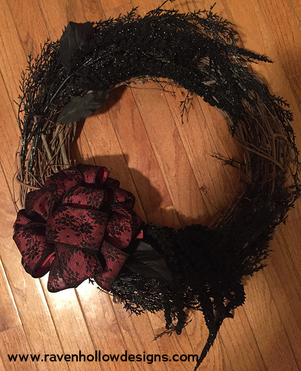 Partly finished Halloween wreath